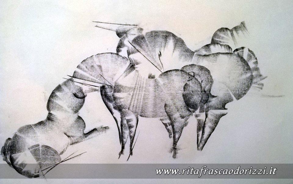 disegno_carboncino_cavalli_nell_erba