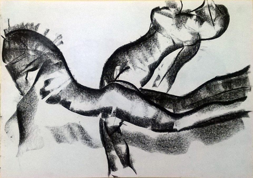 disegno_carboncino_donna_cavallo_e_donna_uccello