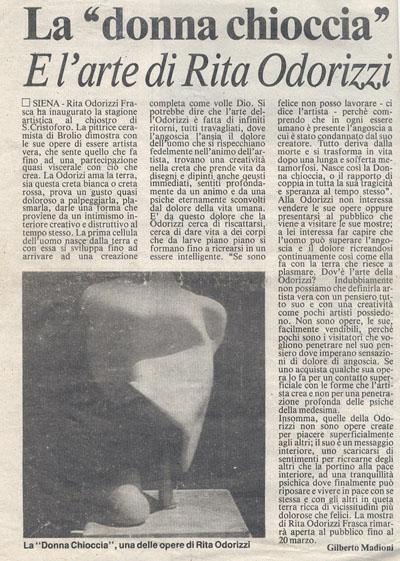 gilberto madioni recensione rita frasca odorizzi 1990
